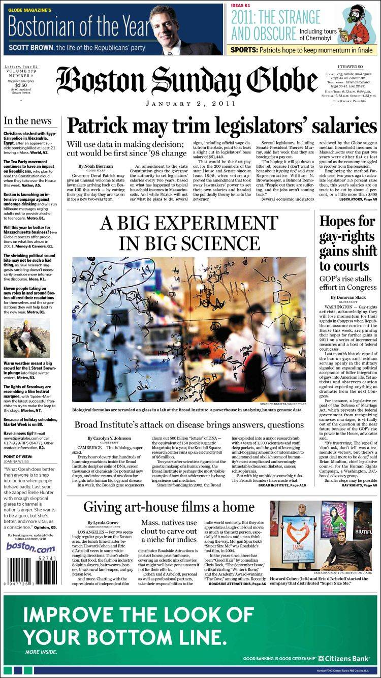 Newspaper Boston Globe (USA)  Front pages from newspapers in