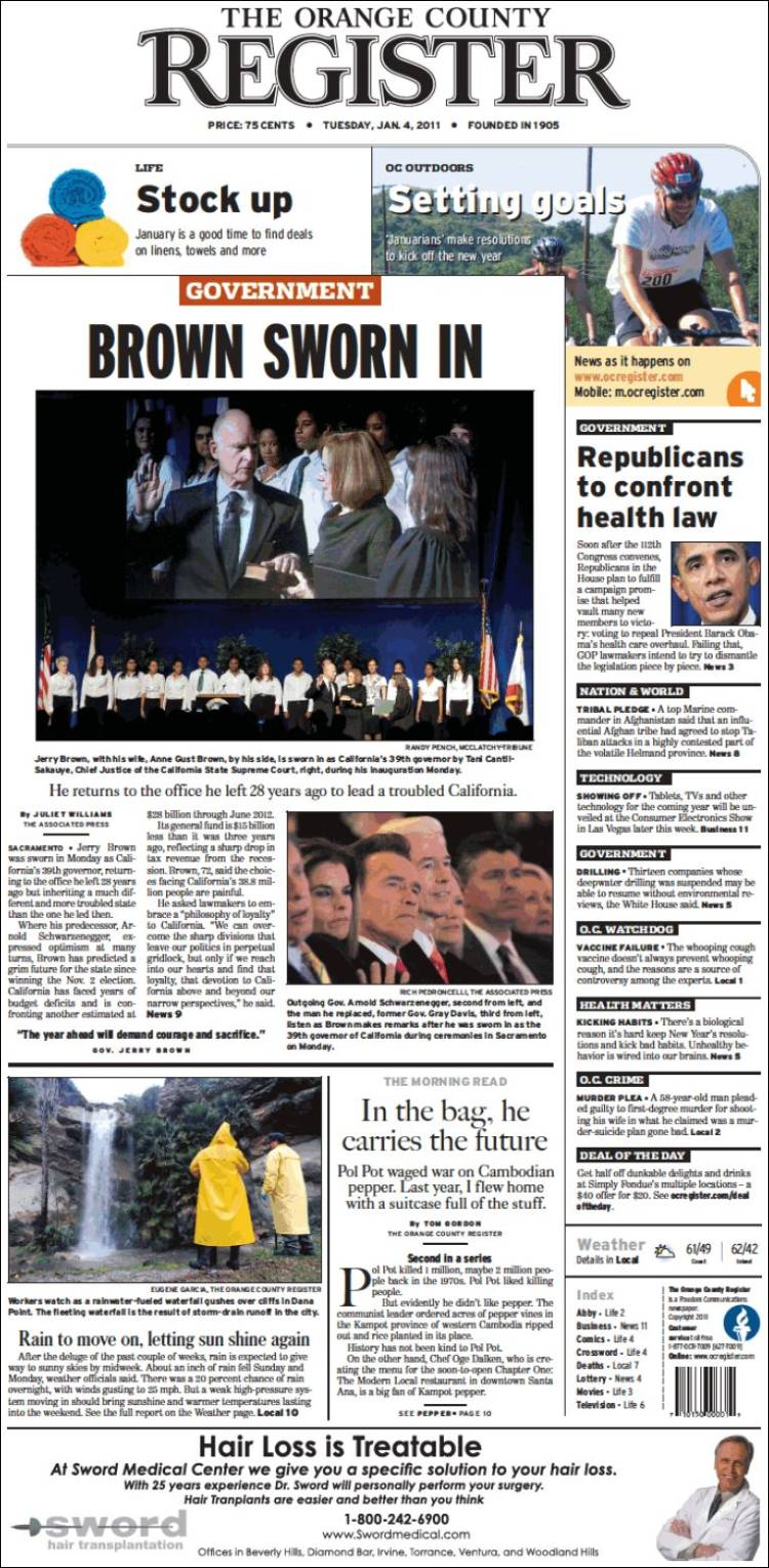Newspaper The Orange County Register (USA)  Front pages from