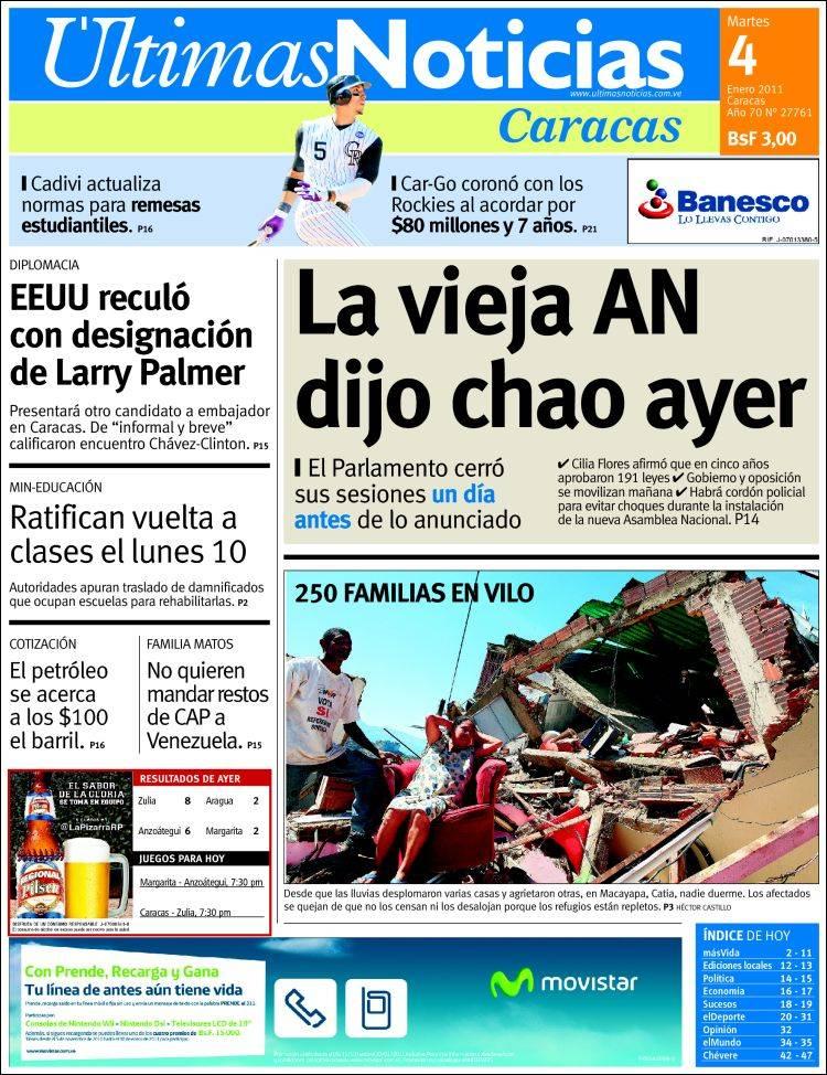 Portada del peri dico ltimas noticias venezuela todos for Ultimasnoticias del espectaculo