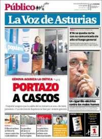 Portada de La Voz de Asturias (España)