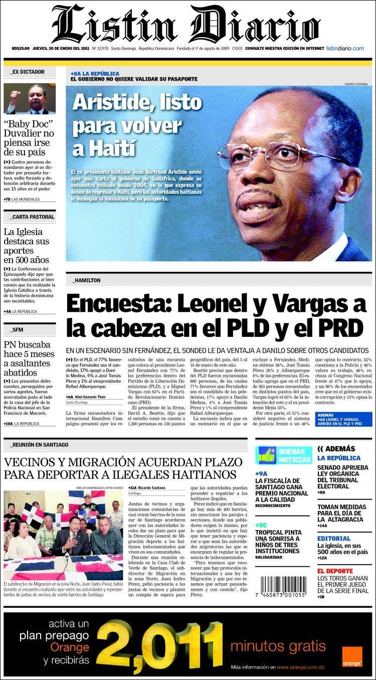 portada del peri u00f3dico list u00edn diario  r  dominicana   todos