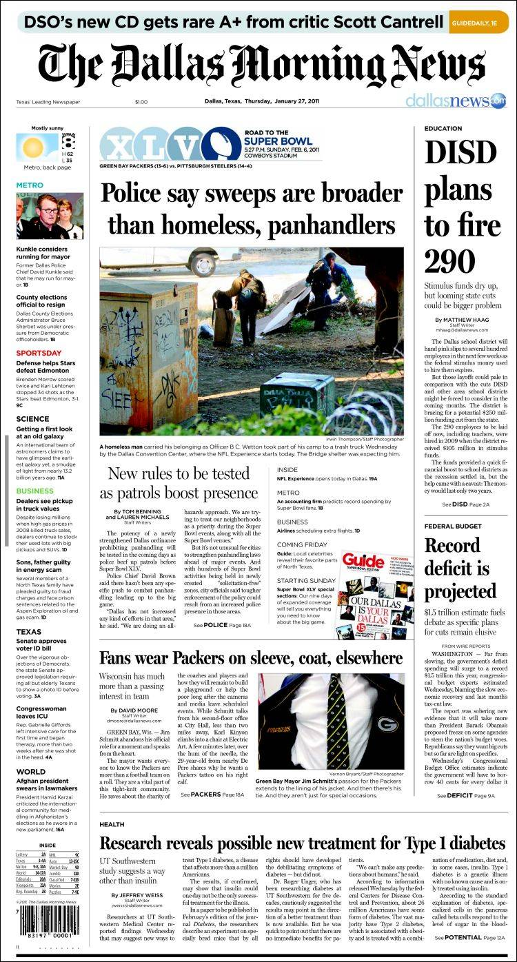 newspaper dallas morning news usa front pages from newspapers in