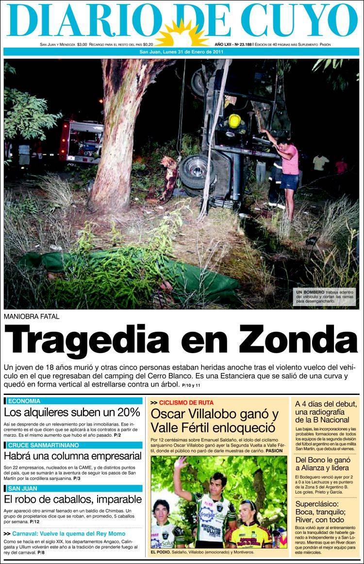 portada del peri u00f3dico diario de cuyo  argentina   todos