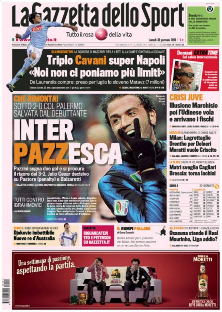 newspaper la gazzetta dello sport italy front pages from newspapers in italy monday 39 s. Black Bedroom Furniture Sets. Home Design Ideas