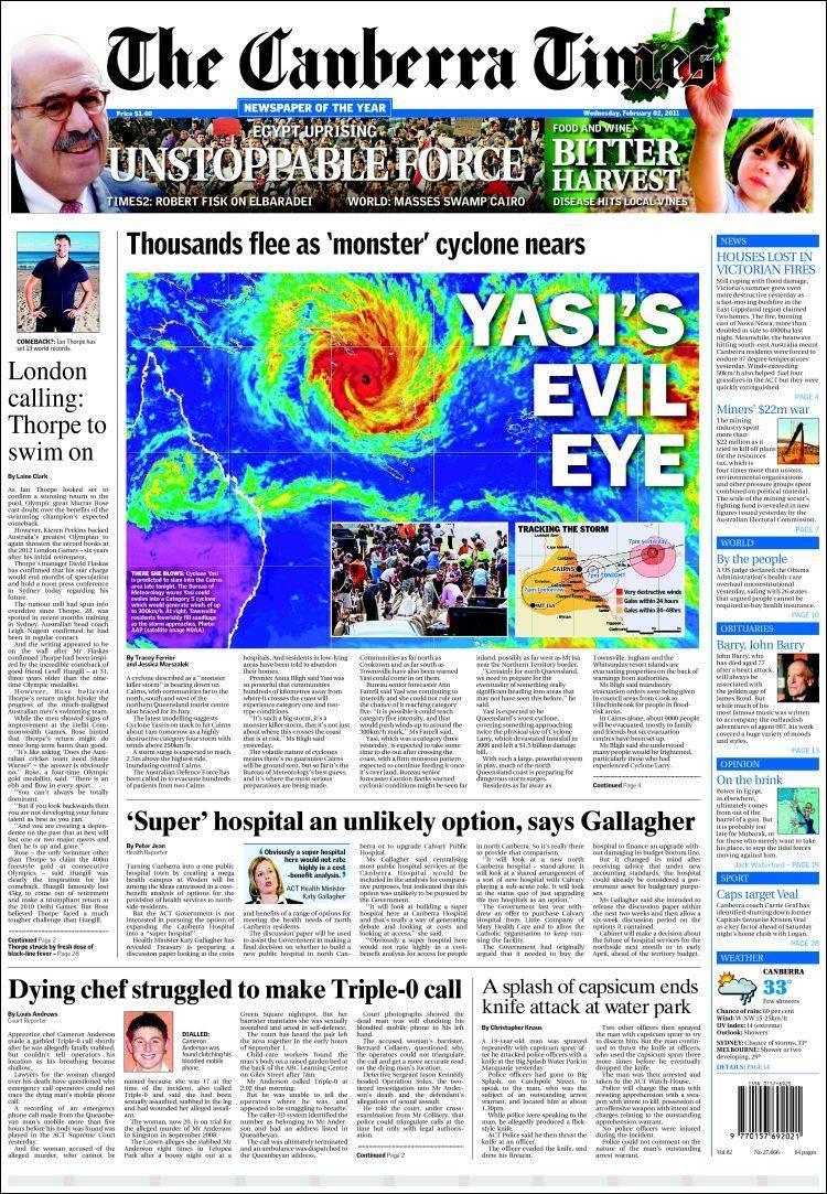 Portada de The Canberra Times (Australia)