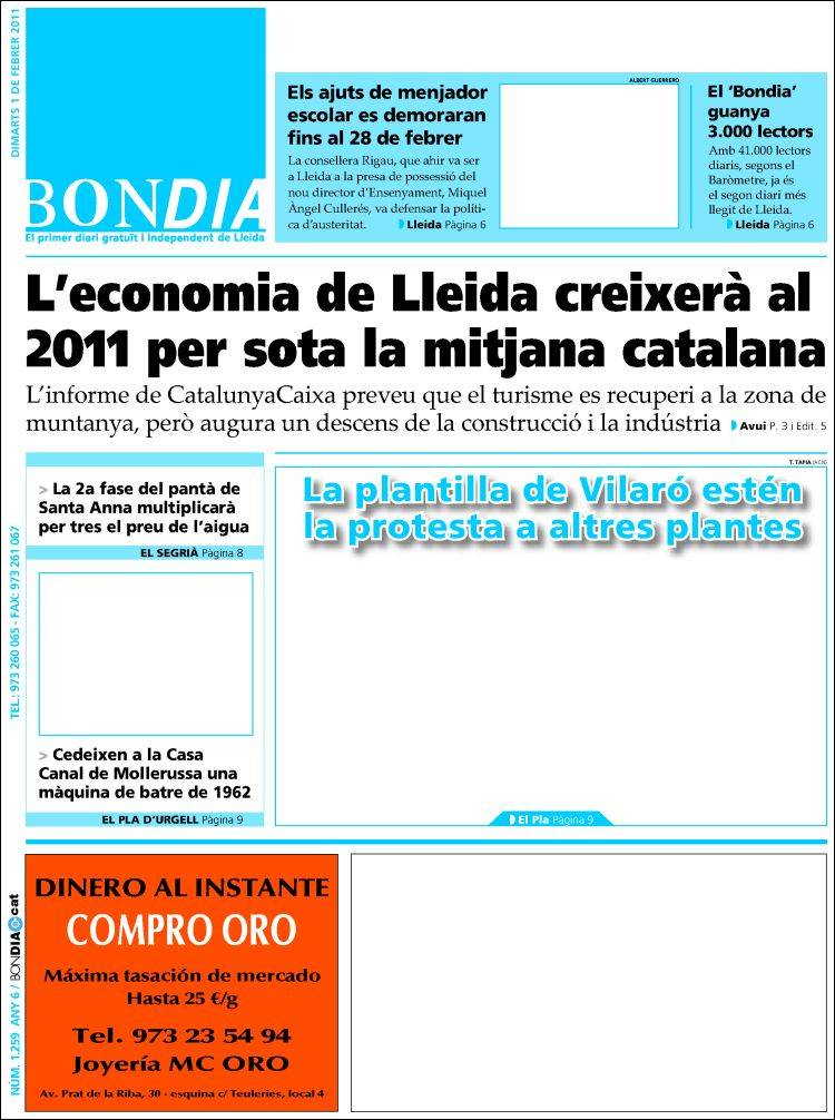 Portada de Diari Bondia Lleida (España)