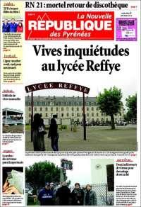 Portada de La Nouvelle Republique des Pyrénées (Francia)
