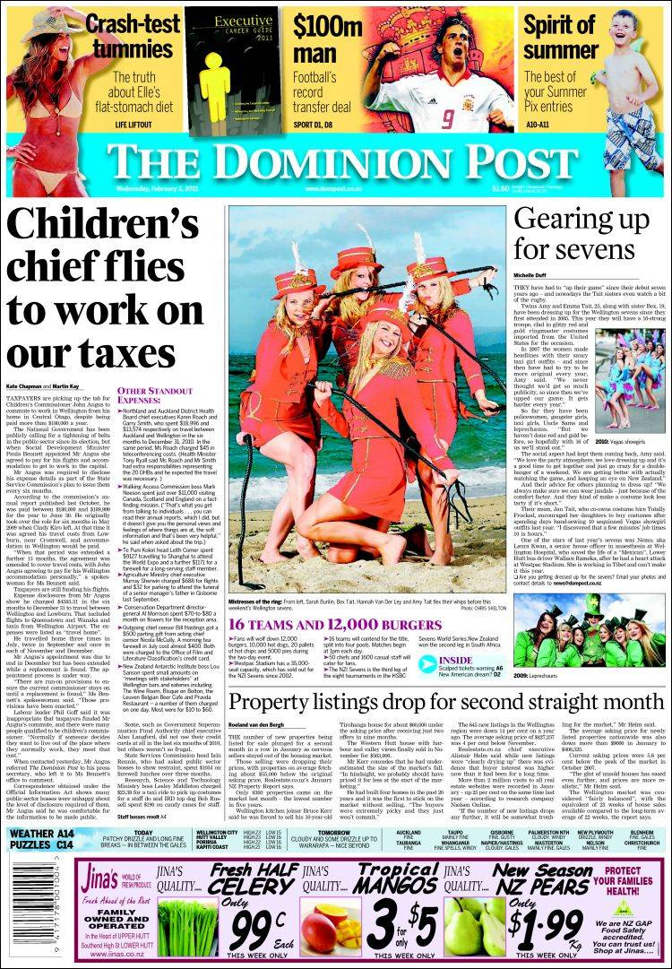 Portada de The Dominion Post (Nueva Zelanda)