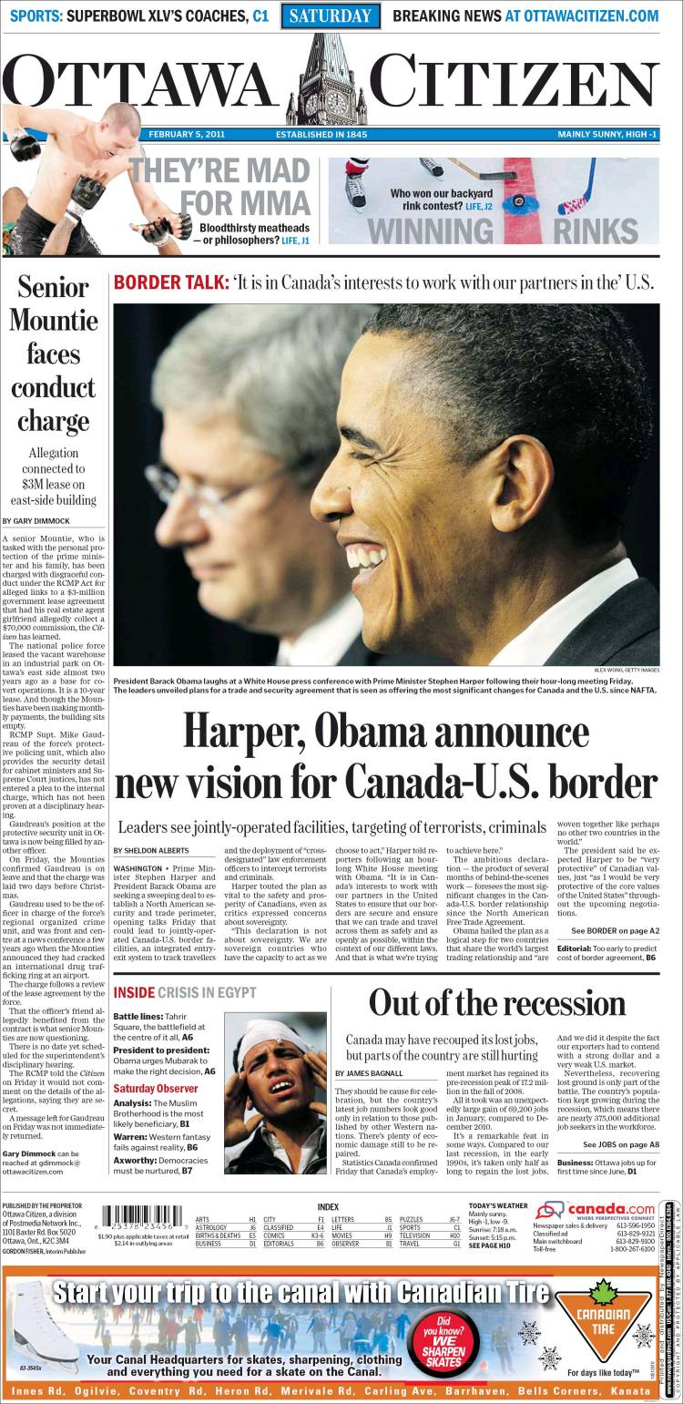 Newspaper Ottawa Citizen (Canada). Front pages from ... - photo#7