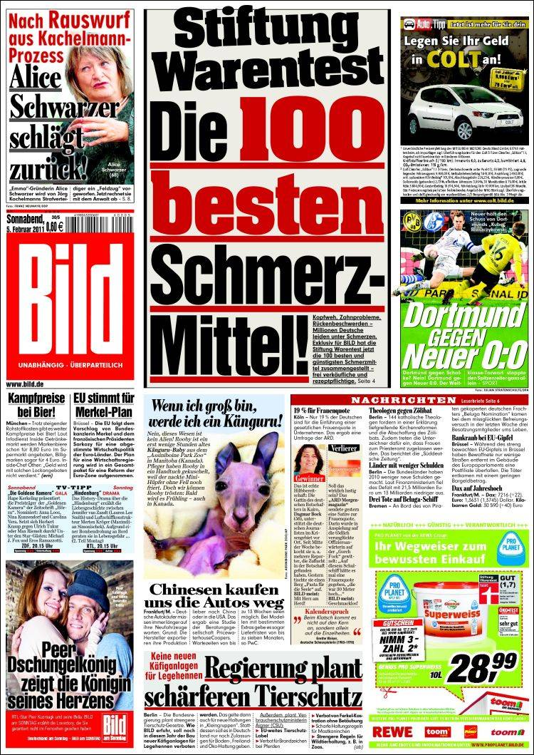 newspaper bild germany front pages from newspapers in germany saturday 39 s edition february 5. Black Bedroom Furniture Sets. Home Design Ideas