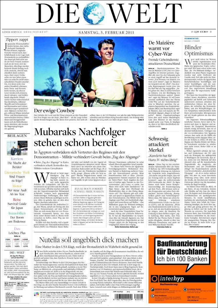 newspaper die welt germany front pages from newspapers in germany saturday 39 s edition. Black Bedroom Furniture Sets. Home Design Ideas
