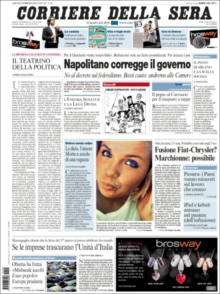 Newspaper corriere della sera italy front pages from for Corriere della sera arredamento