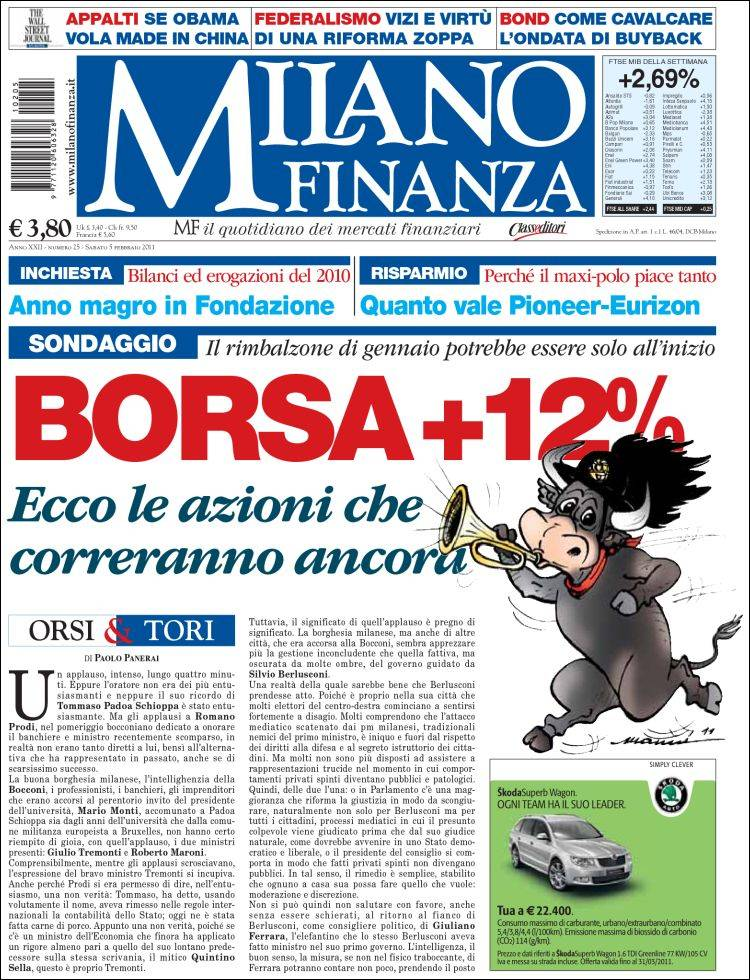 b0d3bca424 Newspaper Milano Finanza (Italy). Front pages from newspapers in ...