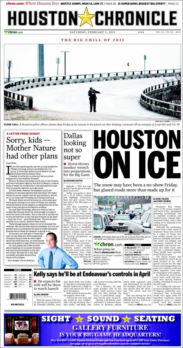 Newspaper Houston Chronicle (USA). Front pages from ...