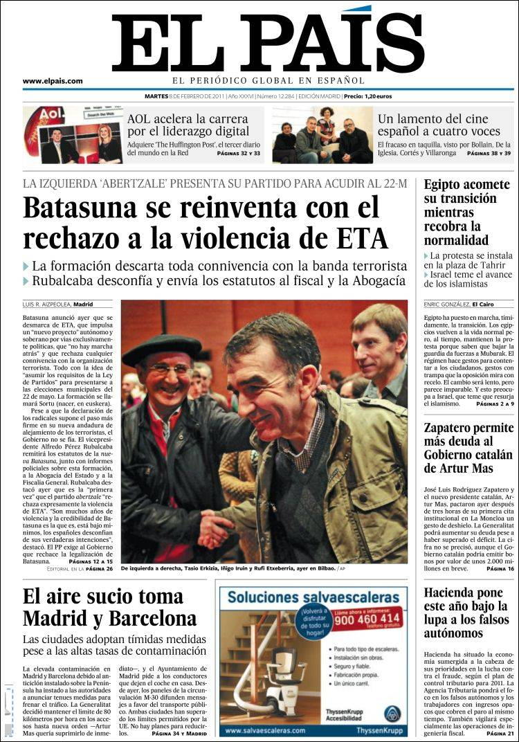 newspaper el pa s spain front pages from newspapers in