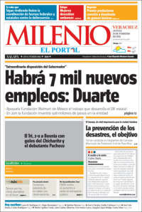 Portada de Milenio de Xalapa (Mexico)