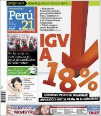 Portada de Perú 21 (Peru)