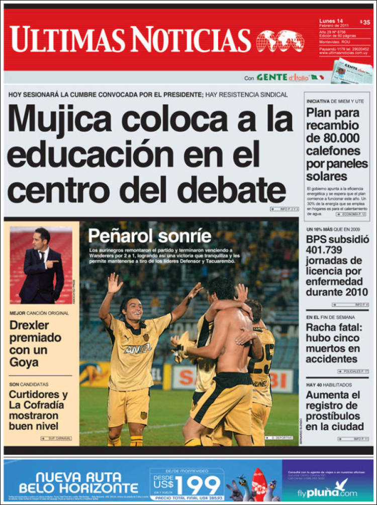d4f64ce505 Portada del periódico Últimas Noticias (Uruguay). Todos los ...