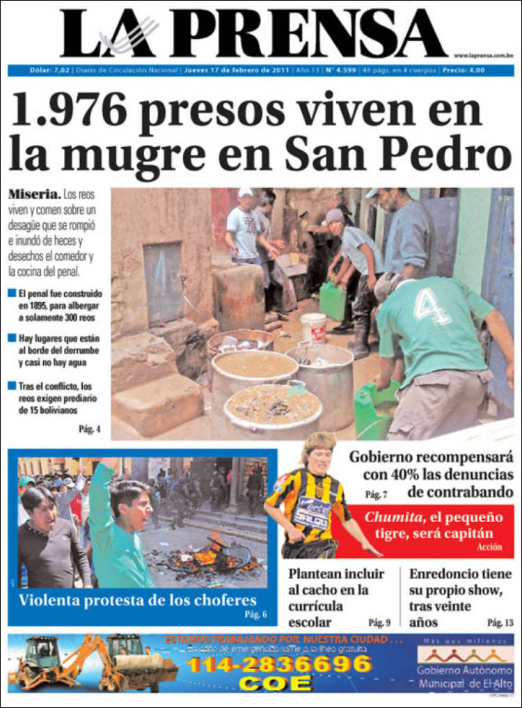 Newspaper La Prensa (Bolivia). Front pages from newspapers ...