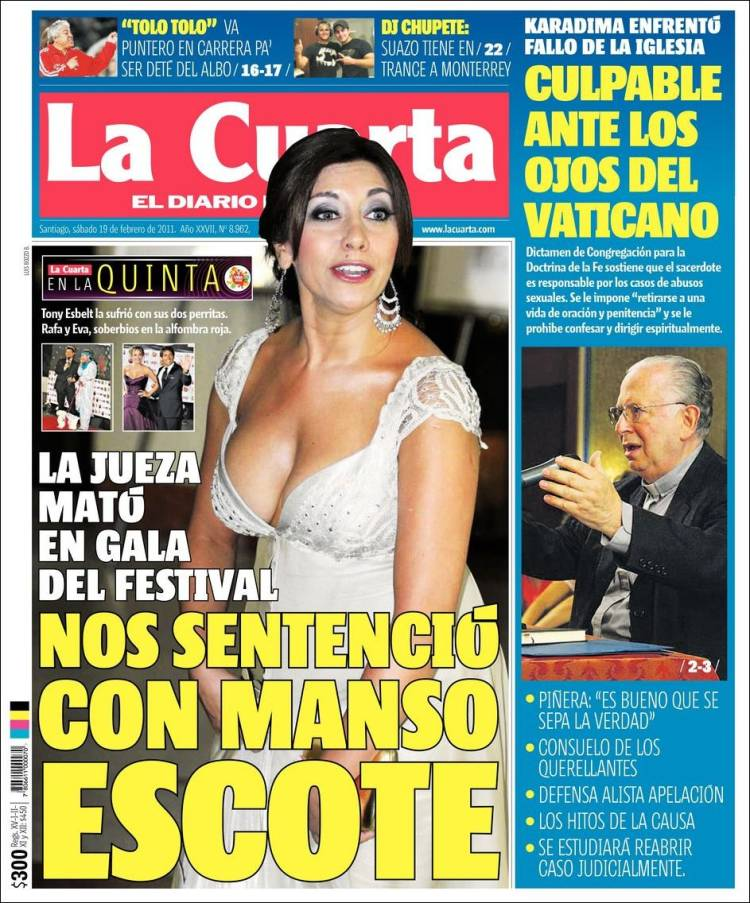Newspaper La Cuarta (Chile). Front pages from newspapers in Chile ...