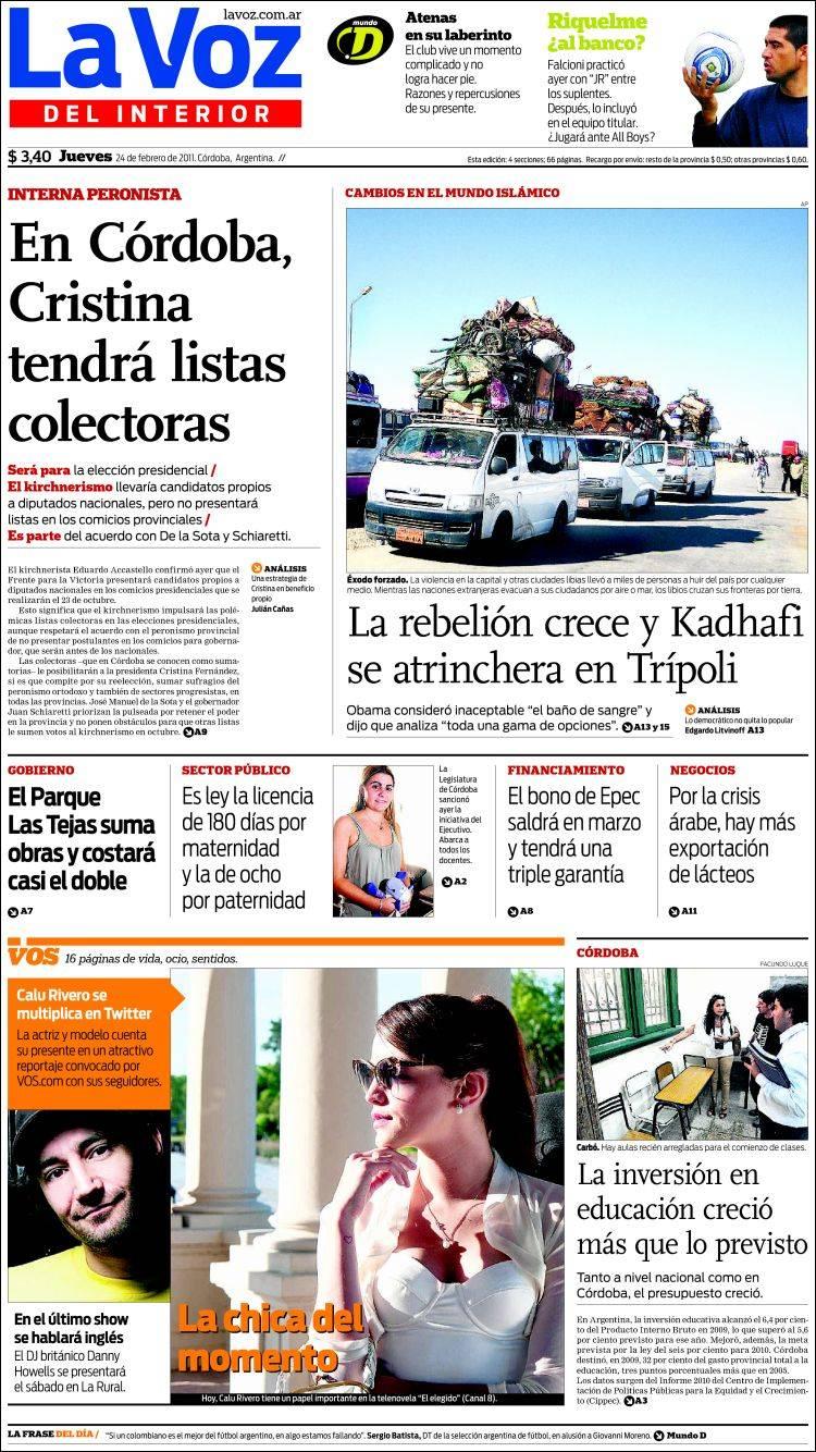 Portada del peri dico la voz del interior argentina for Lavoz del interior cordoba