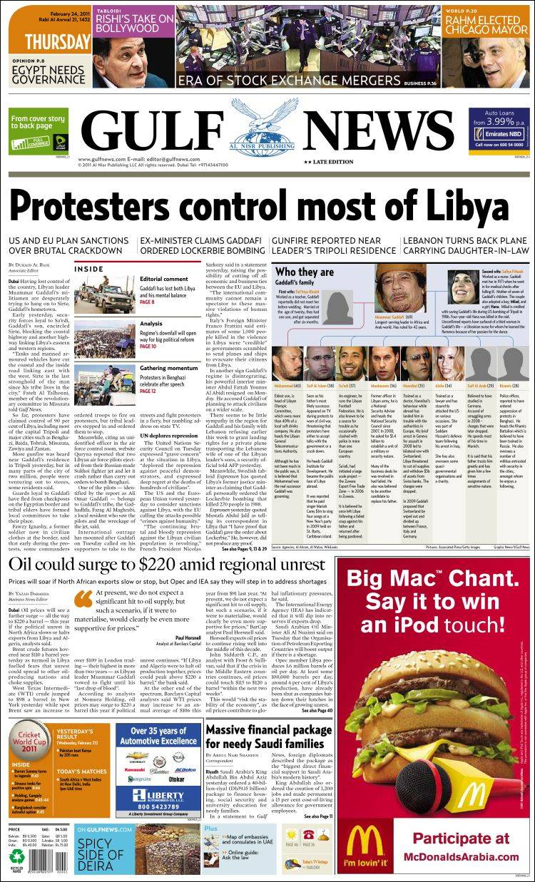 Newspaper Gulf News (Asia-Pacific)  Front pages from