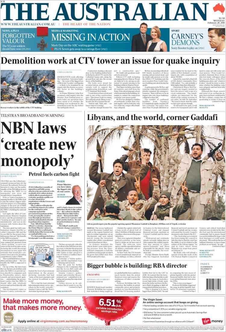 newspaper the australian  australia   newspapers in australia  monday u0026 39 s edition  february 28 of
