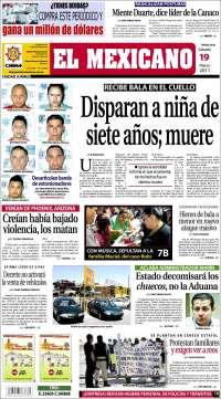 Portada de El Mexicano (México)