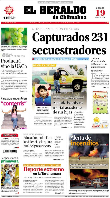 Portada de El Heraldo de Chihuahua (México)