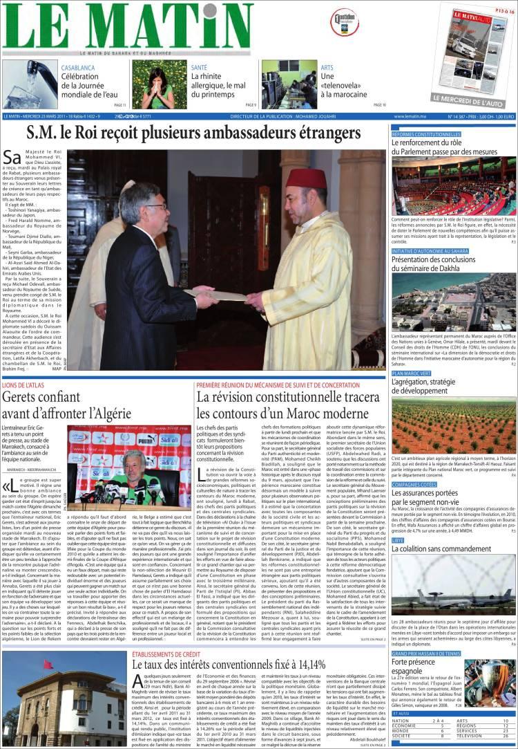 journal le matin maroc les unes des journaux de maroc dition du mercredi 23 de mars de. Black Bedroom Furniture Sets. Home Design Ideas