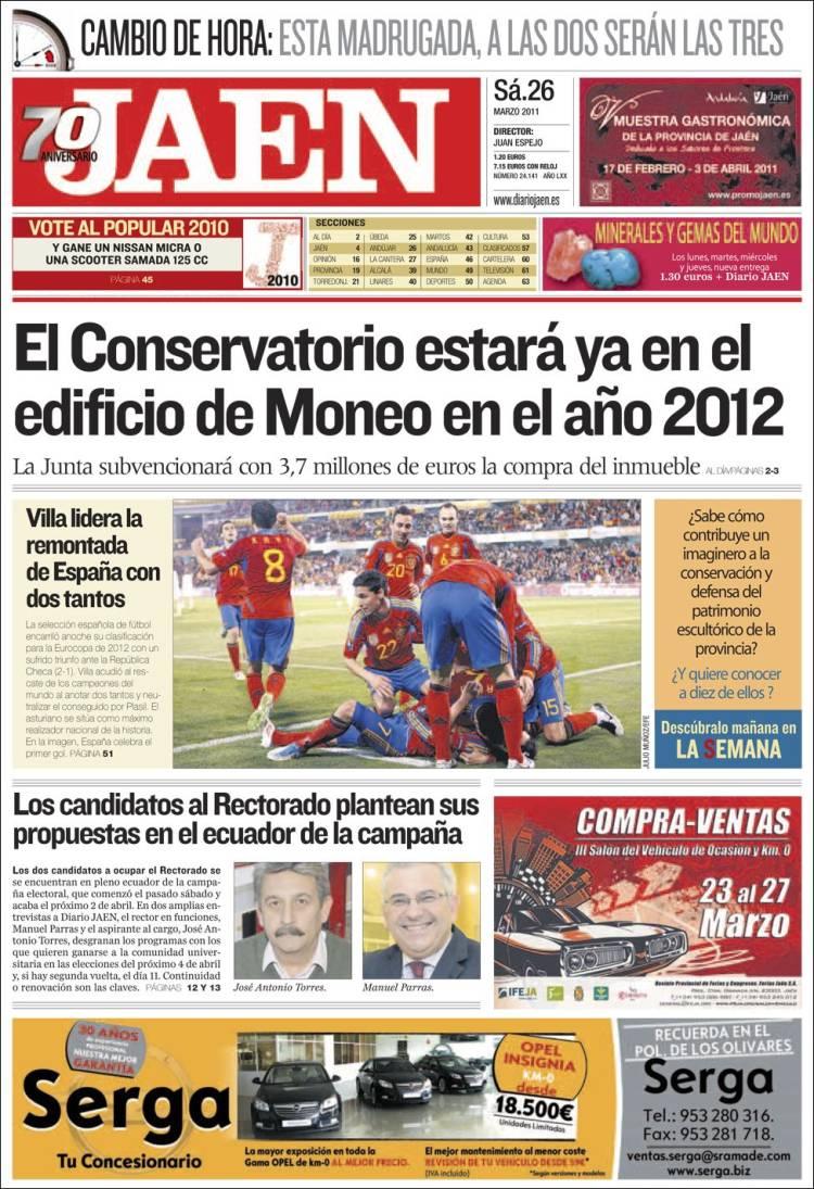 Peri dico diario ja n espa a peri dicos de espa a edici n de s bado 26 de marzo de 2011 - Puerta de madrid periodico ...