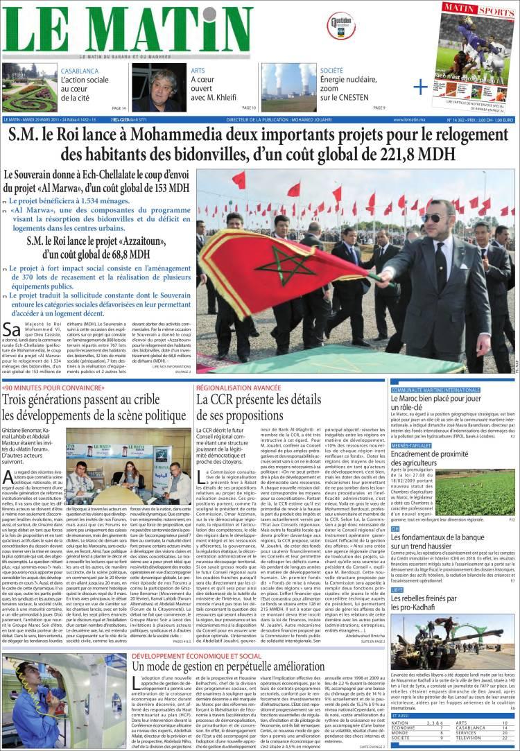 journal le matin maroc les unes des journaux de maroc dition du mardi 29 de mars de 2011. Black Bedroom Furniture Sets. Home Design Ideas