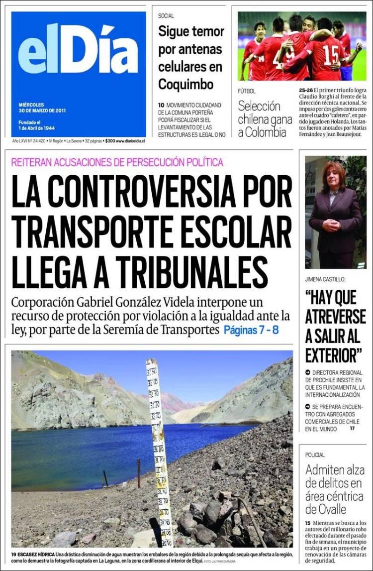 Portada de El Día (Chile)