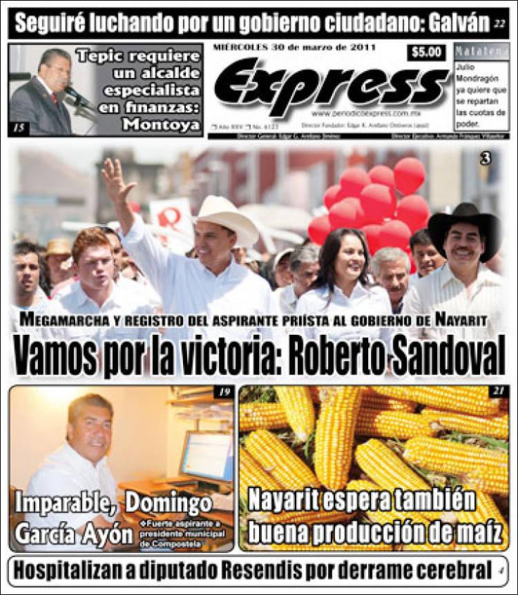 Portada de Periódico Express (México)