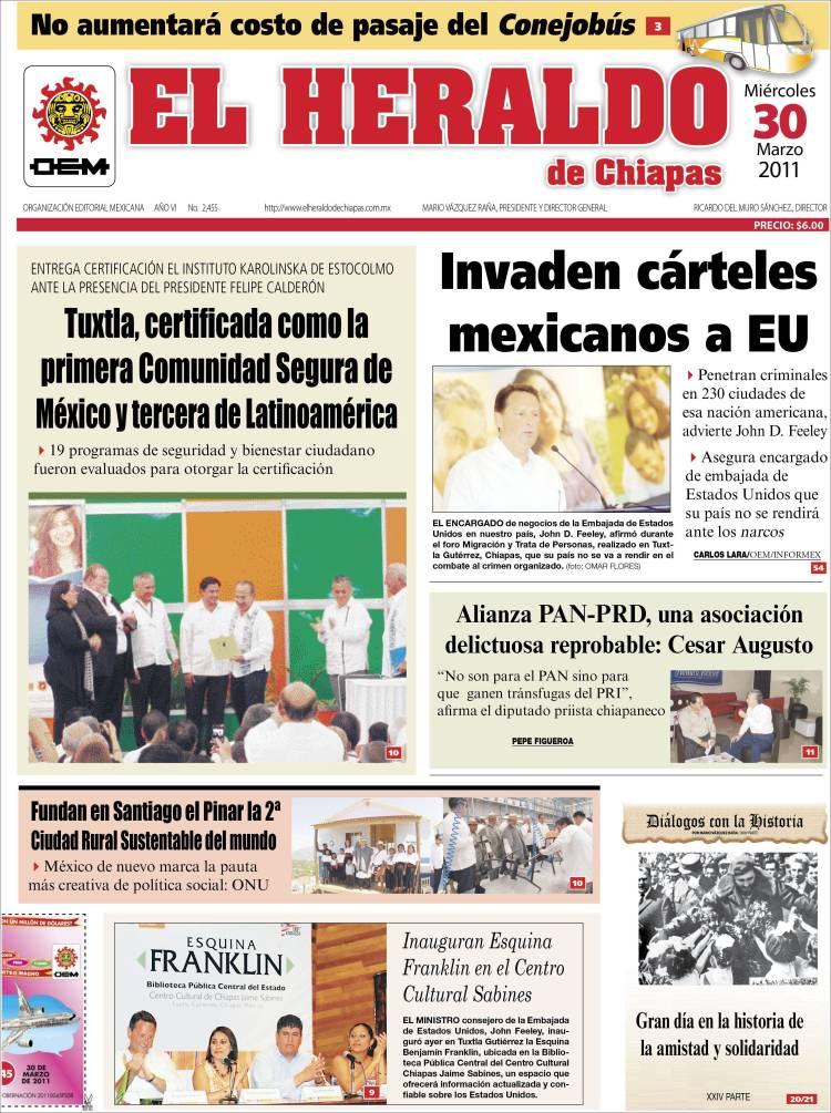Portada de El Heraldo de Chiapas (México)