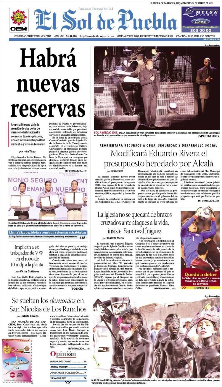 Portada de El Sol de Puebla (México)