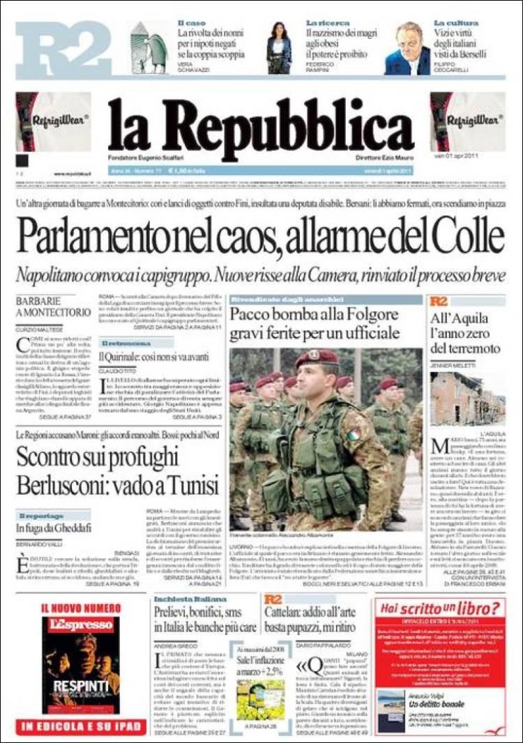 La Repubblica It Nel 2019: Journal La Repubblica (Italie). Les Unes Des Journaux De