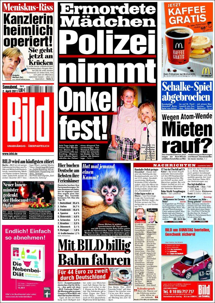 newspaper bild germany newspapers in germany saturday 39 s edition april 2 of 2011. Black Bedroom Furniture Sets. Home Design Ideas