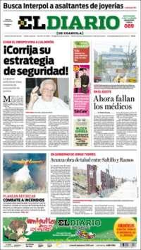 Portada de El Diario de Coahuila (Mexico)