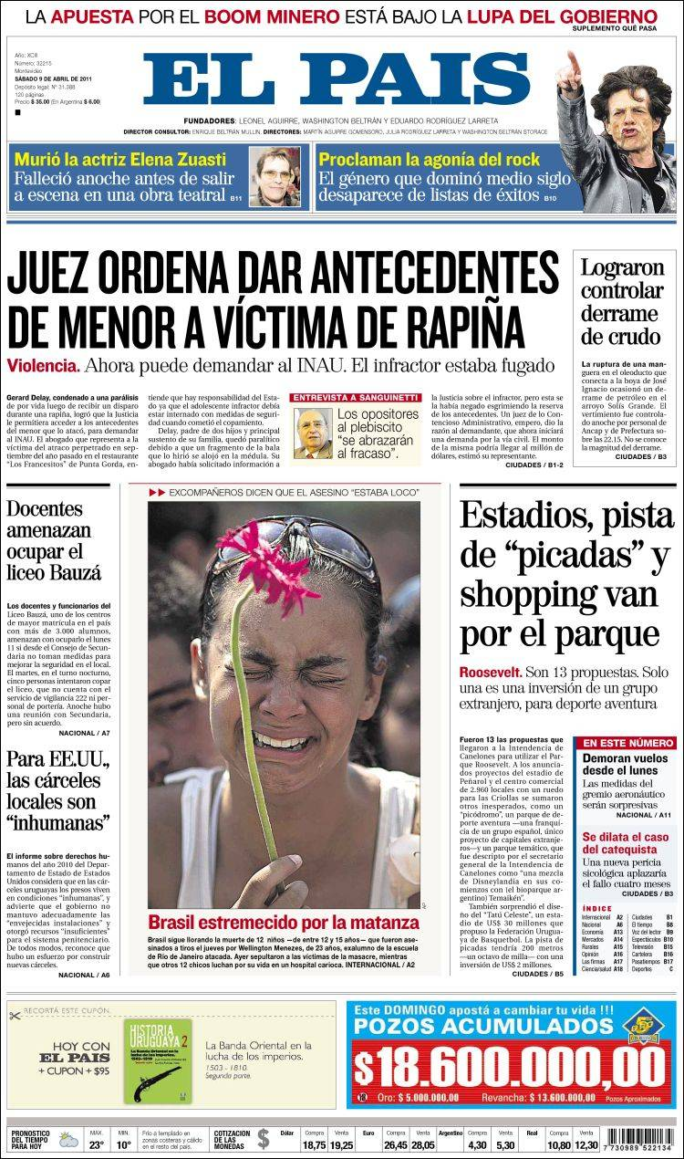 Periódico El País (Uruguay). Periódicos de Uruguay.