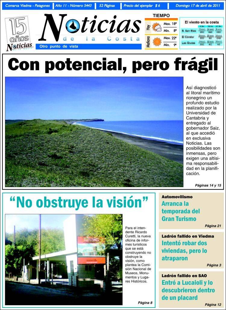 Portada de Noticias de la Costa (Argentina)