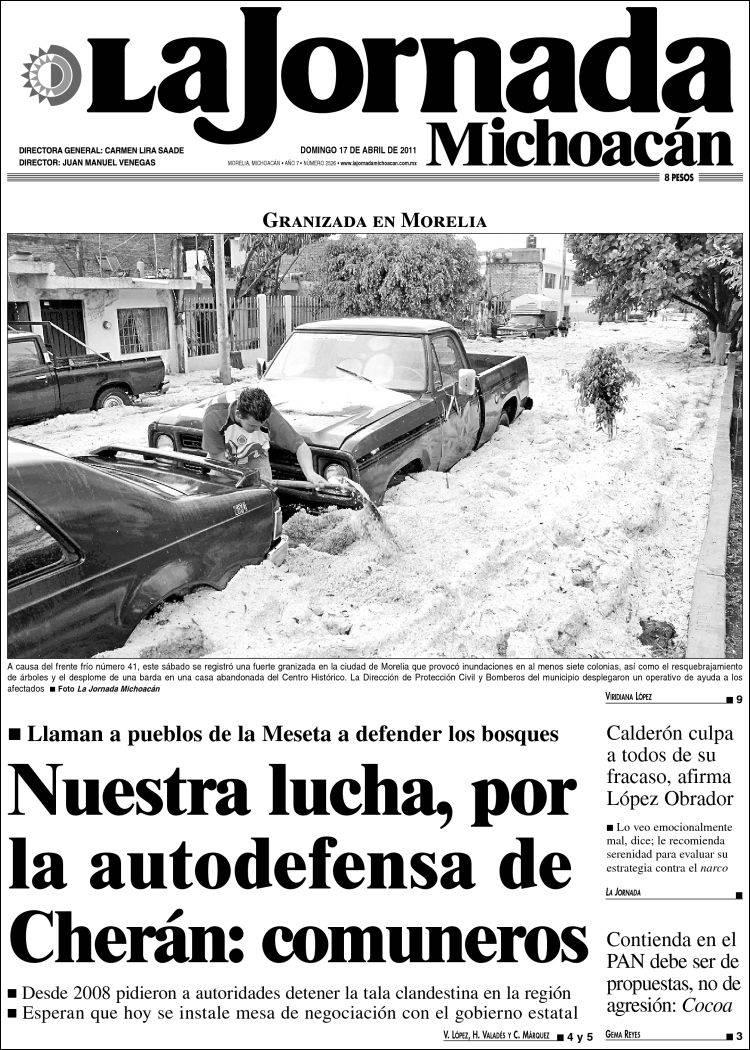 Portada de La Jornada de Michoacán (México)