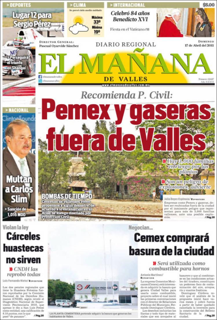 Portada de El Mañana del Valles (México)