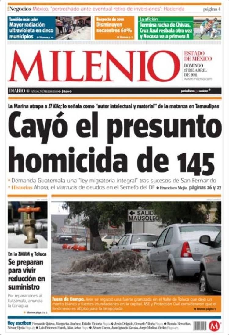 Portada de Milenio de Estado de México (México)