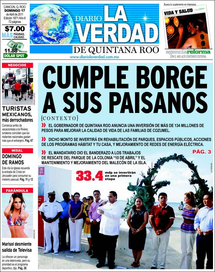 Portada de La Verdad de Quintana Roo (México)