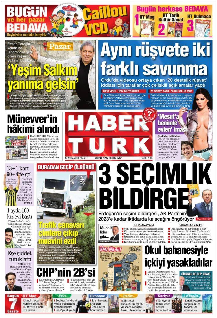 Portada de Habertürk (Turquía)