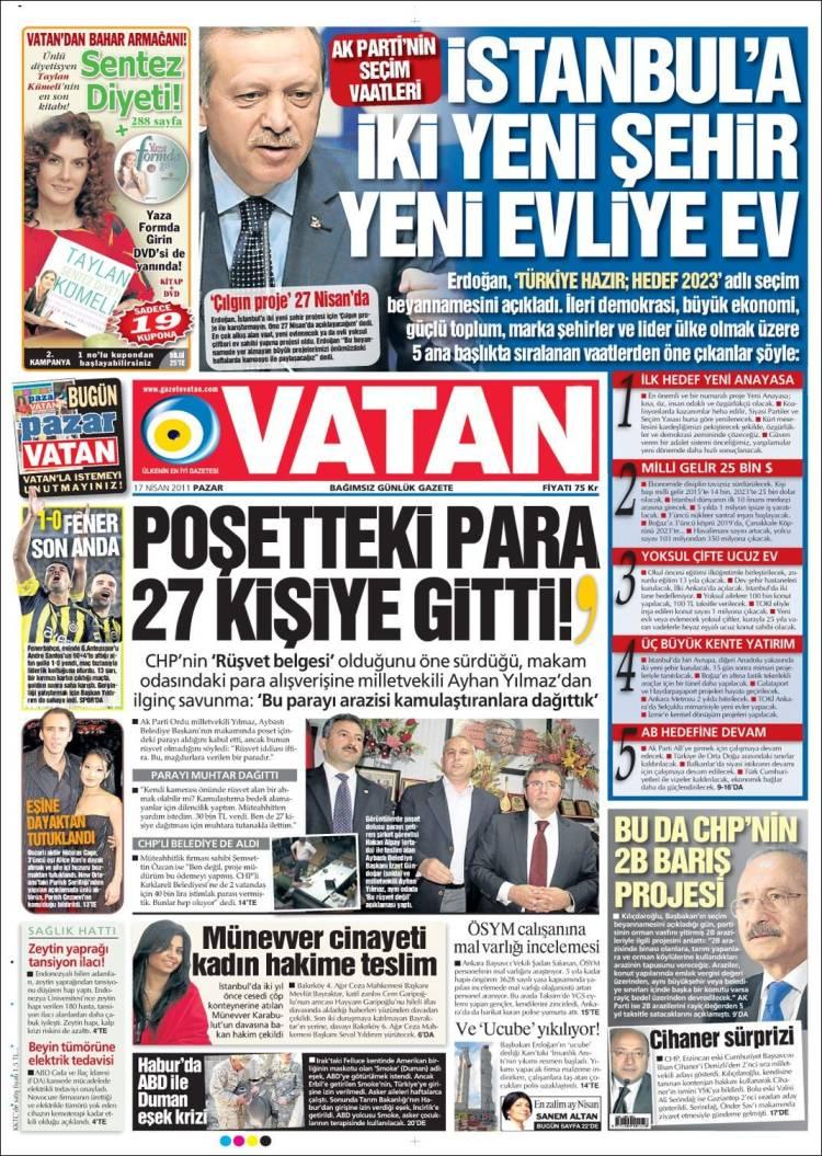 Portada de Vatan (Turquía)