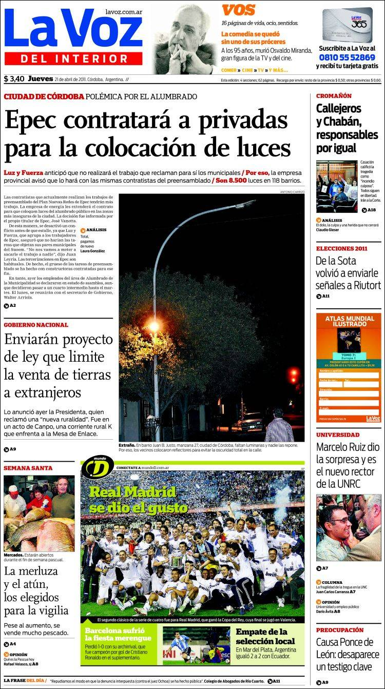 Peri dico la voz del interior argentina peri dicos de argentina edici n de jueves 21 de - La voz del interior ...