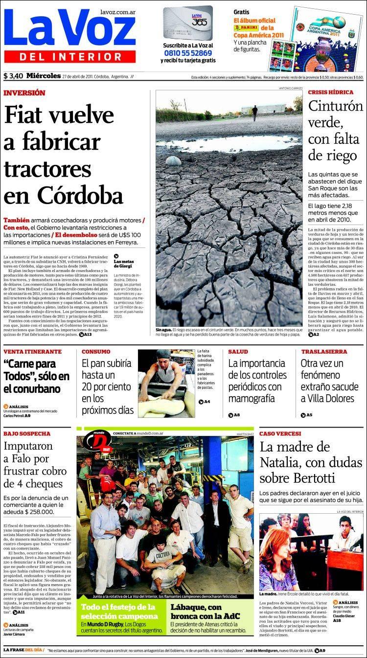 Peri dico la voz del interior argentina peri dicos de for Lavoz del interior cordoba