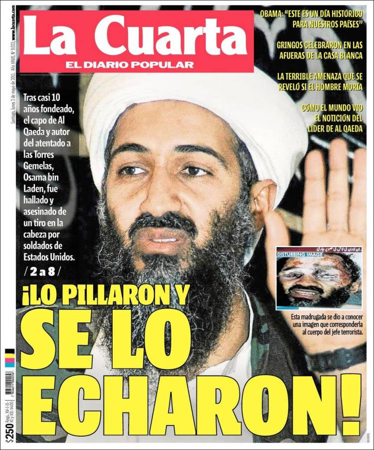 Newspaper La Cuarta (Chile). Newspapers in Chile. Tuesday\'s edition ...